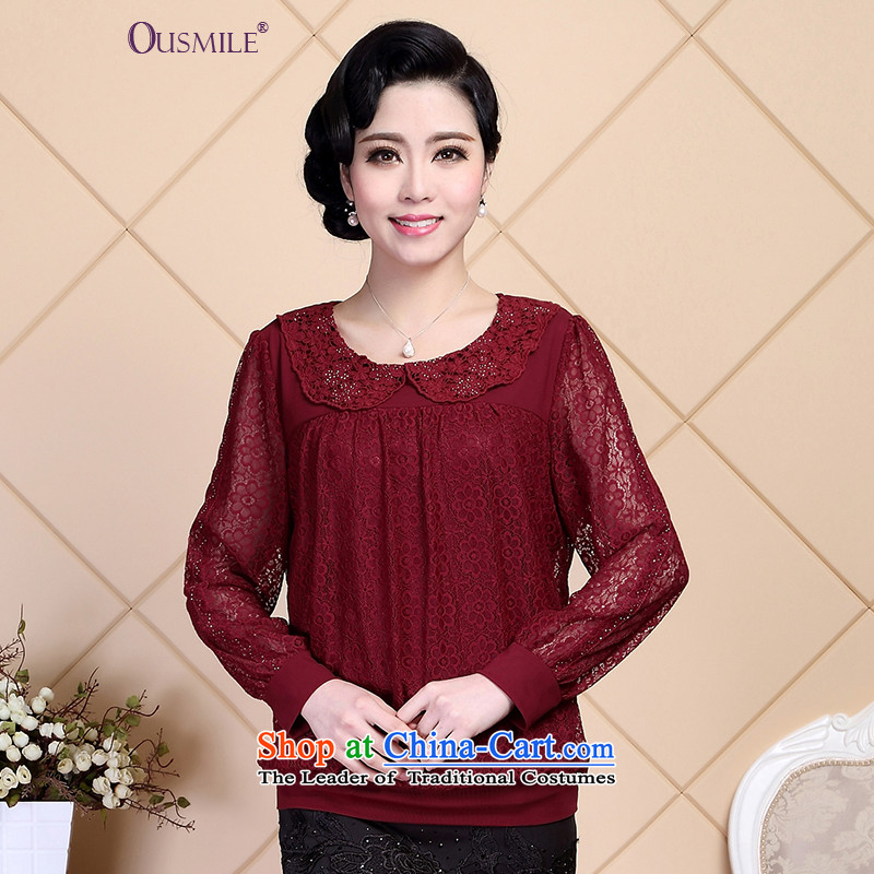 Stylish shirt ousmile 2015T Lace up large load forming the mother in the Netherlands shirt of older women fall inside燞T05 HT05�L red