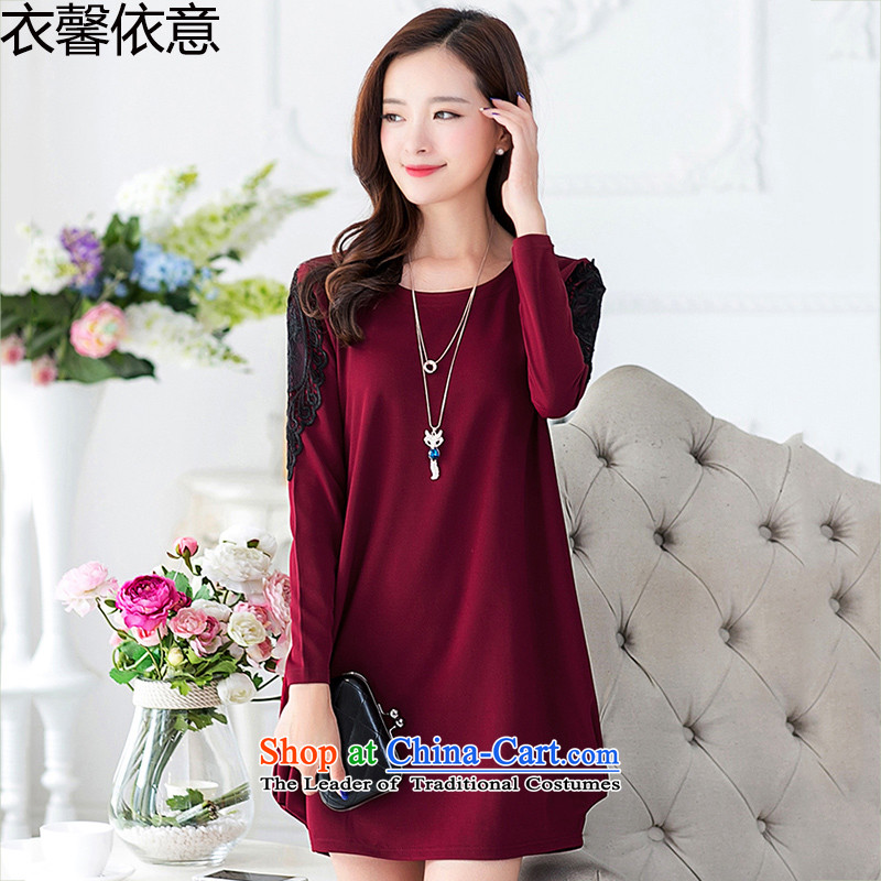 In accordance with the intention to include yi 2015 autumn and winter new larger female plus lint-free Thick coated dresses Y444 femaleXXXXL wine red