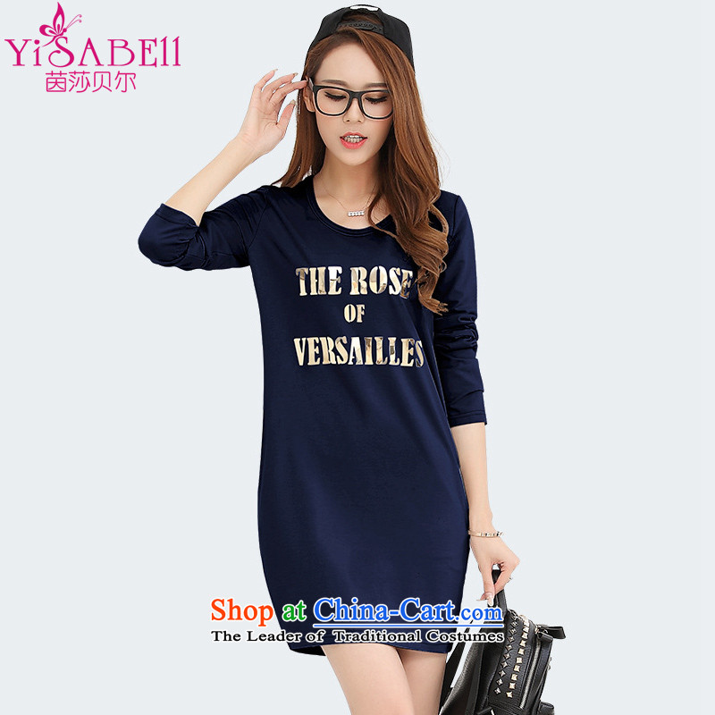Athena Chu Isabel 2015 installed new larger female thick mm letter stamp forming the long-sleeved shirt ironing Kim video thin dressesdark blue plus lint-free2XL 1301 _recommendation 135-150 catties_