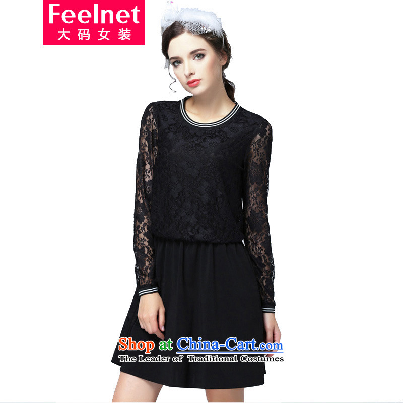 ?The Korean version of fat mm feelnet winter clothing video thin to increase women's code load fall short skirt lace stitching larger dresses?Y94?black?5XL code