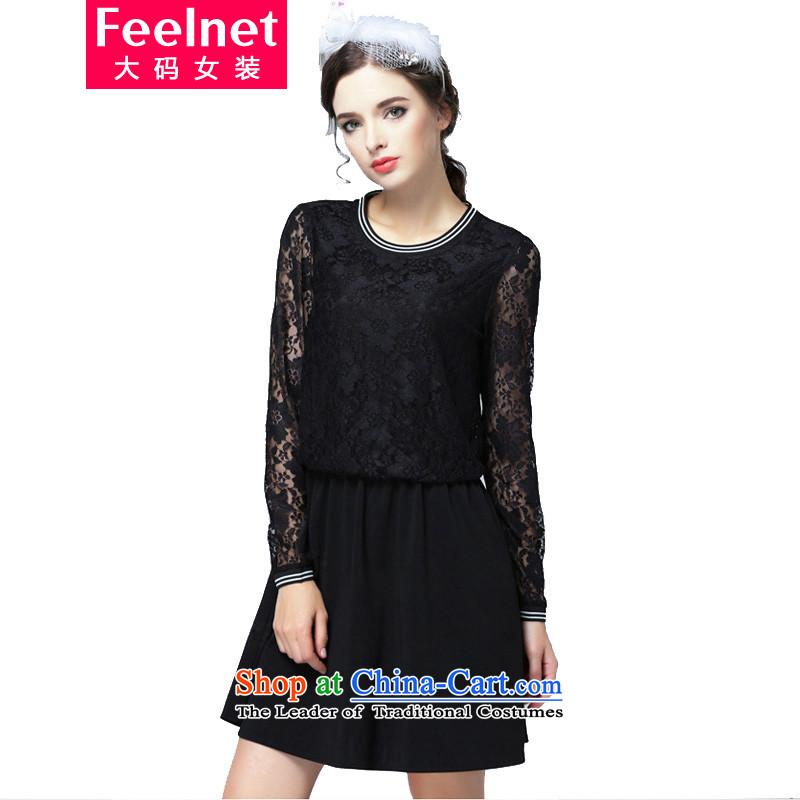 燭he Korean version of fat mm feelnet winter clothing video thin to increase women's code load fall short skirt lace stitching larger dresses燳94燽lack�L code