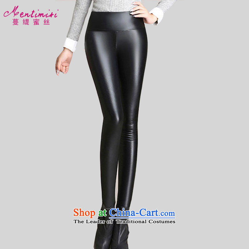 Overgrown Tomb economy honey population to increase women's code winter new stylish wild beauty warm plus woolen pants PU leather pants, forming the stitching trousers boots trousers�18燘lack�L爎ecommendations 140-155 catty