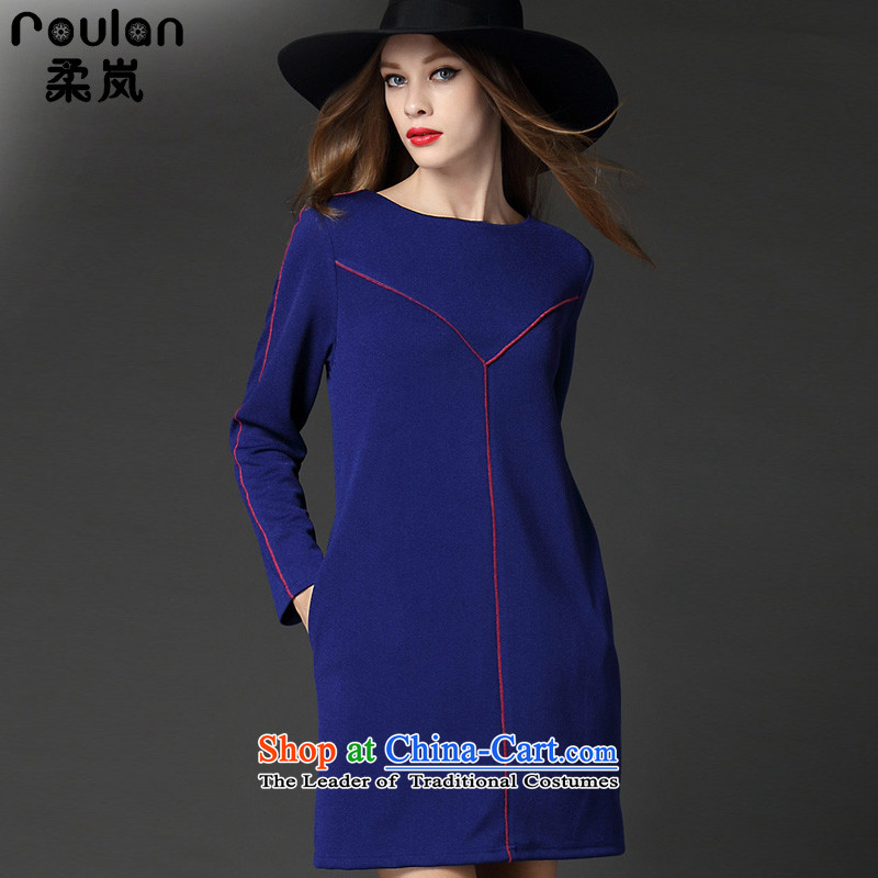 Sophie sponsors to intensify Code women's dresses 2015 Fall_Winter Collections new 200 mm thick people thick catty thin, long-sleeved forming the graphics dresses blue燲XXL 2529