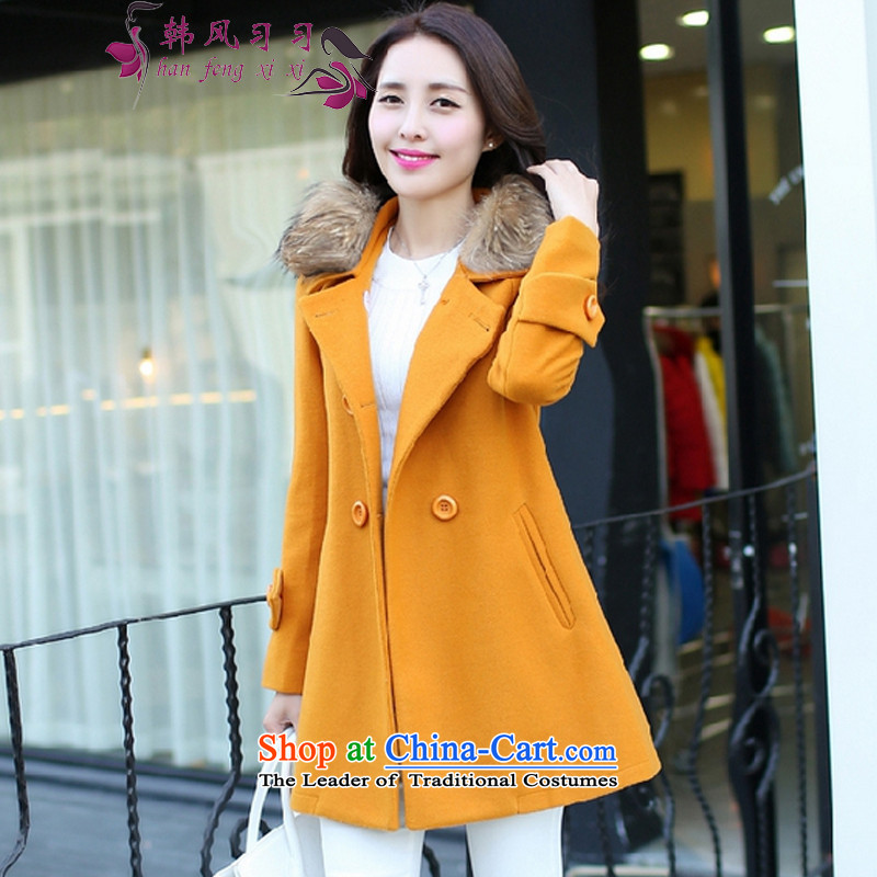 Korea Breeze聽2015 new products in the winter Sau San gross for long coats 8,125 ore Huang?聽M