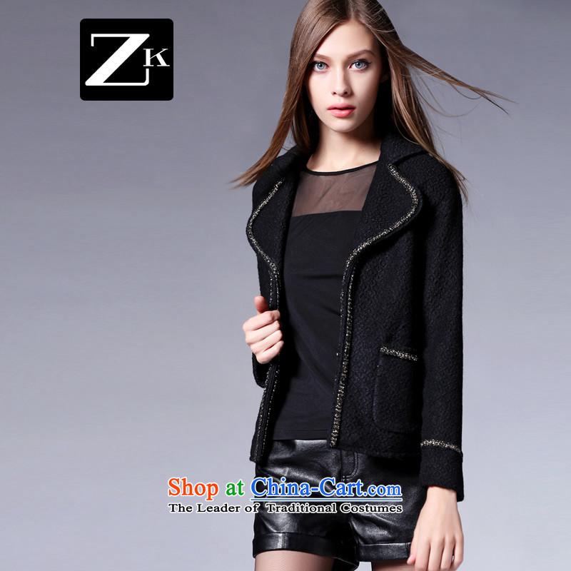 Zk Western women聽2015 Fall_Winter Collections new gross shortage of female jacket?   a wool coat woolen coat jacket female Black聽XL