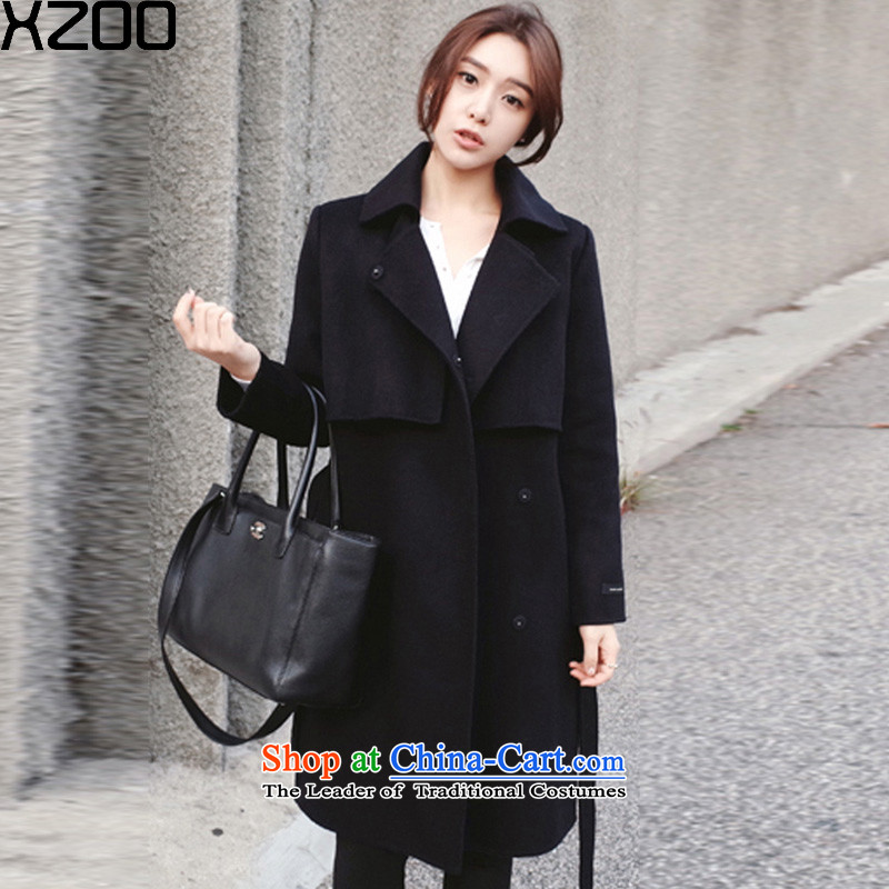 Wool coat women XZOO? a wool coat in the long winter 2015 New pure black S