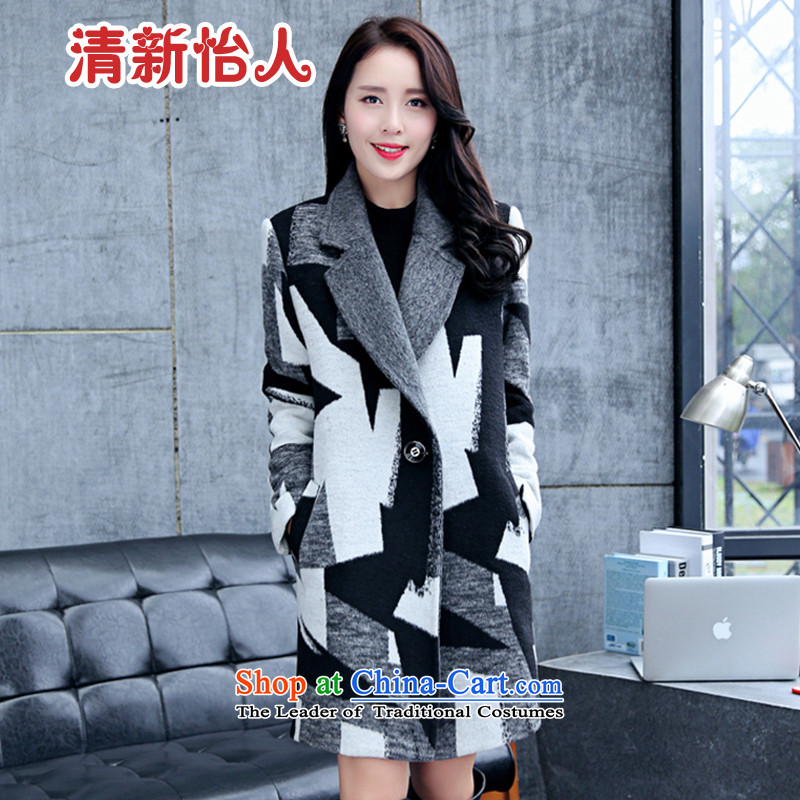 Refreshing gross?燼utumn and winter coats women 2015 new long hair stylish Women's jacket is black and white�L
