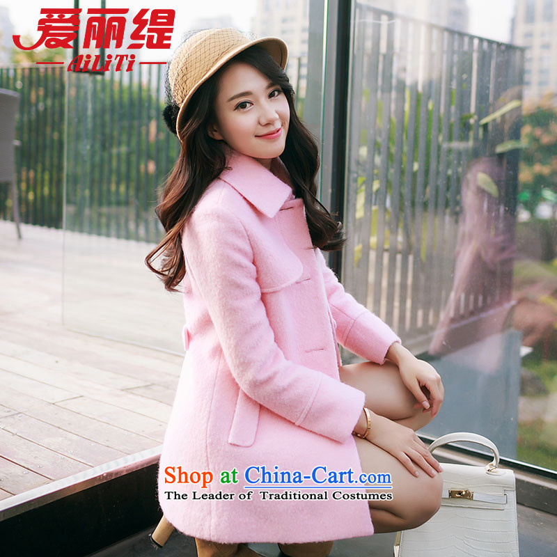 Christy Love 2015 autumn and winter new Korean version in the long hair of Sau San? jacket lapel a wool coat D3059 female pink聽S expected issued on 22 November