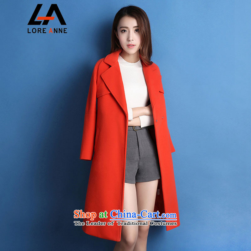 La4 of 2015 gross girls jacket? long winter Korean Sau San larger female Winter Sweater a wool coat 1104 bright orange   S
