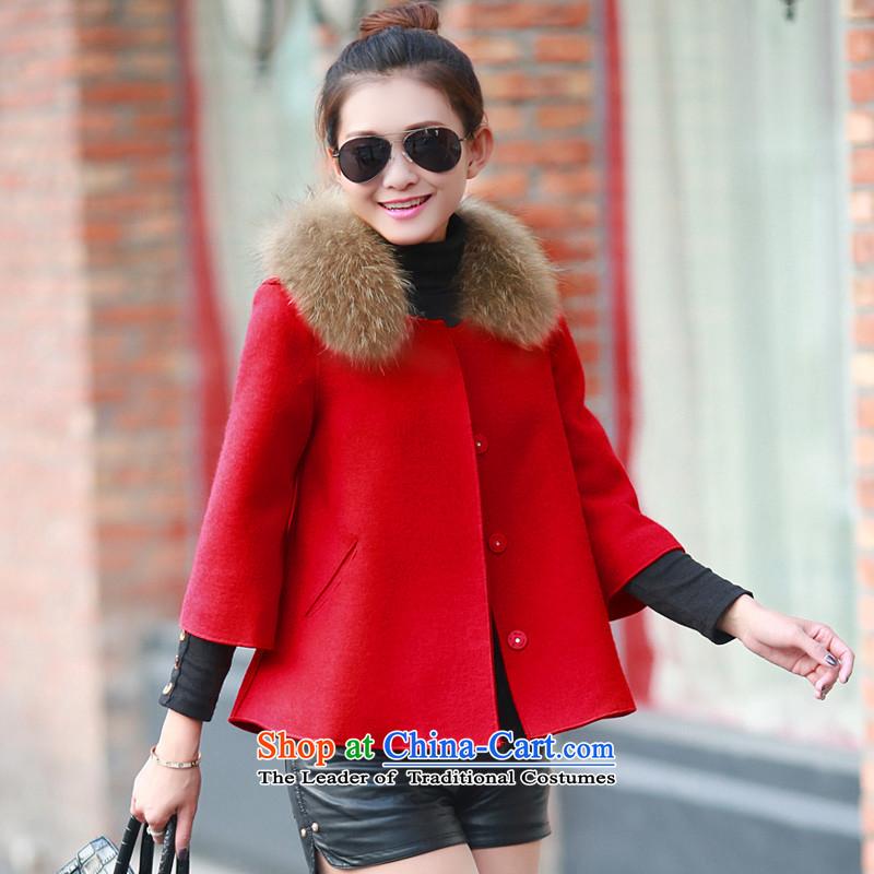 Sin hasnew winter 2015 female Korean autumn and winter coats gross? female short of wool coat female Red Hair? M