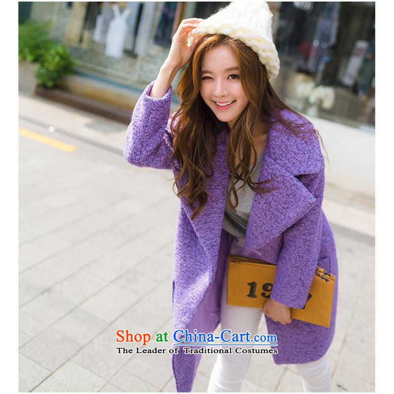 Sin has2015 winter clothing new Korean loose video in thin large Long Hair Girl cocoon-jacket? a wool coat purpleS