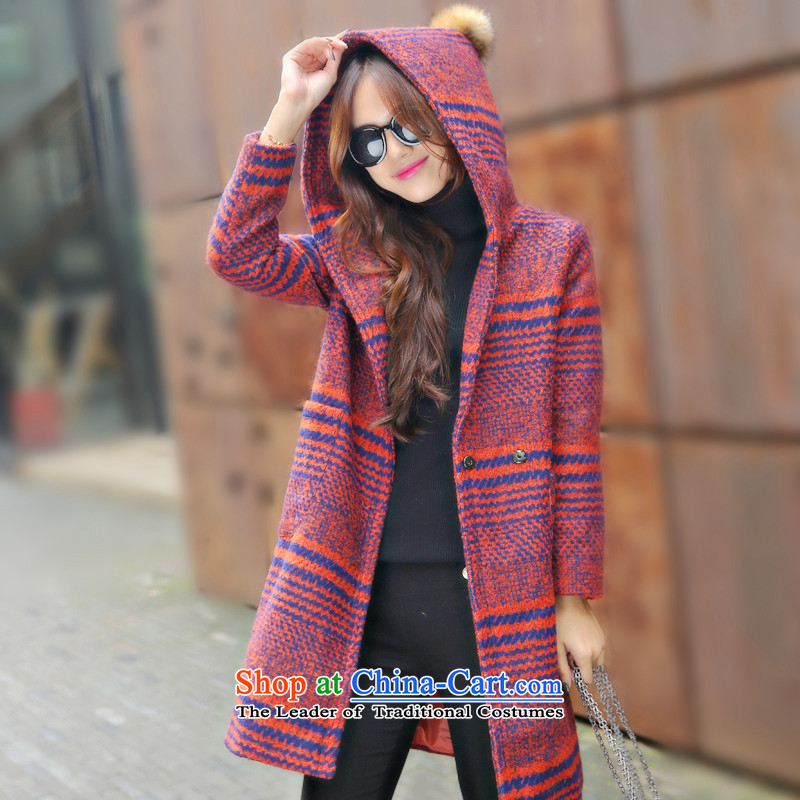 Sin has new autumn and winter coats girl in gross? Long latticed wool a wool coat Korean leisure is a gross coats orange S?