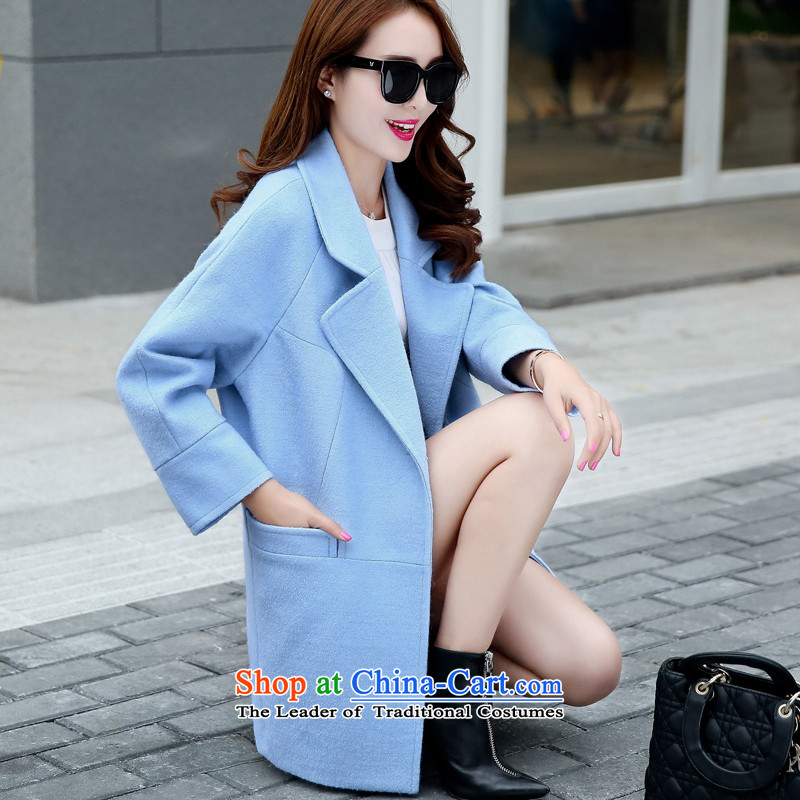 Sin has 2015 autumn and winter new Korean fan Sau San video skinny Heung-wind-up in gross? jacket long a wool coat blue L