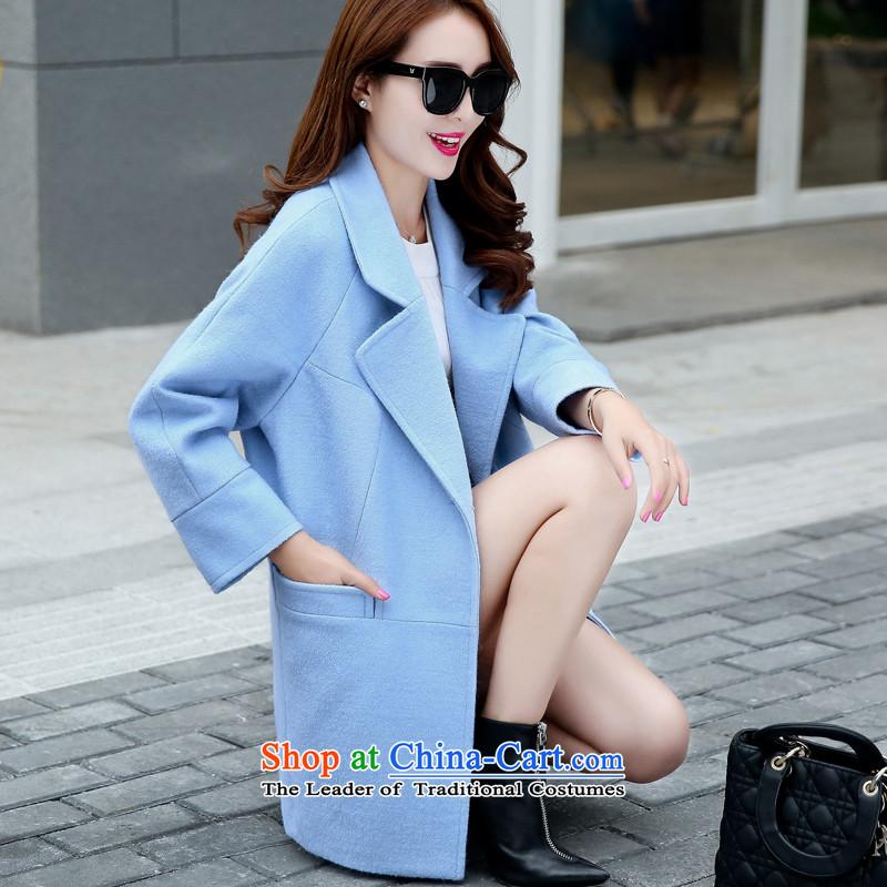 Sin has2015 autumn and winter new Korean fan Sau San video skinny Heung-wind-up in gross? jacket long a wool coat blueL