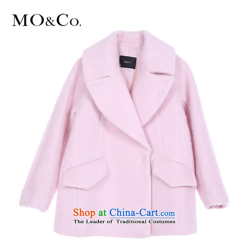 Wool large roll collar Mo_co. plush coat in the female gross? long loose coat MA153OVC03 moco50 pale pink XXSTOXL_