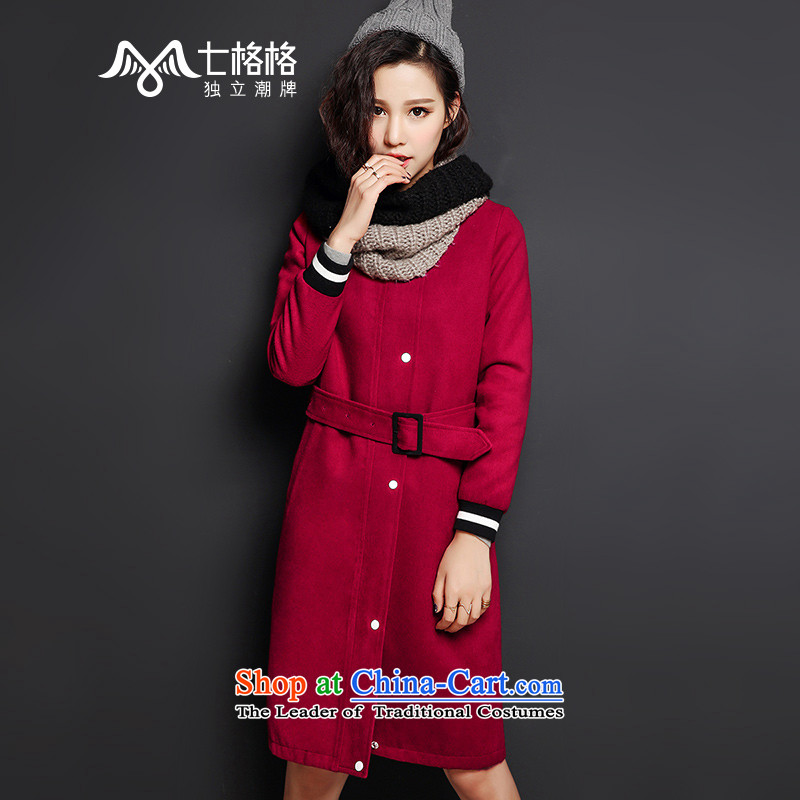 The interpolator 7 New Europe and the 2015 winter wind baseball tether a long coat female wine red燬