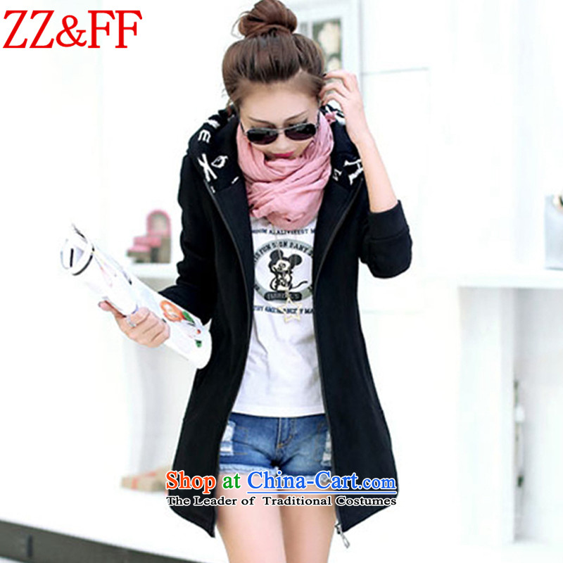 2015 Autumn and winter Zz&ff new larger female thick cardigan in long sweater WT6605 female black XXXL