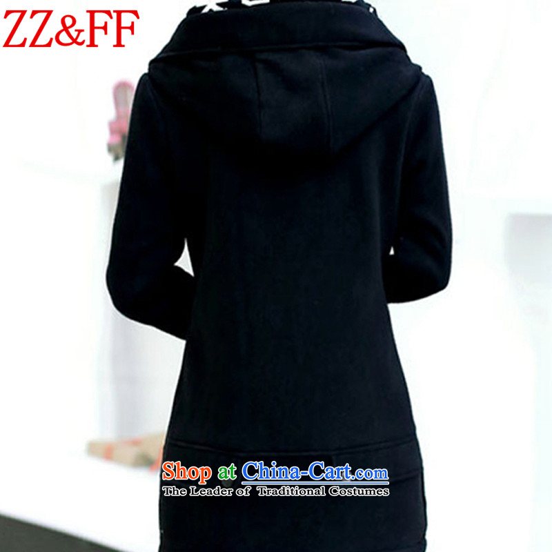 2015 Autumn and winter Zz&ff new larger female thick cardigan in long sweater WT6605 female black XXXL,ZZ&FF,,, shopping on the Internet