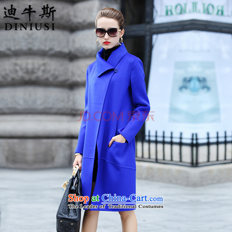 The achievement of the�15 autumn and winter new Korean fashion in the Sau San? long double-sided female jacket coat gross sapphire blue燲XL