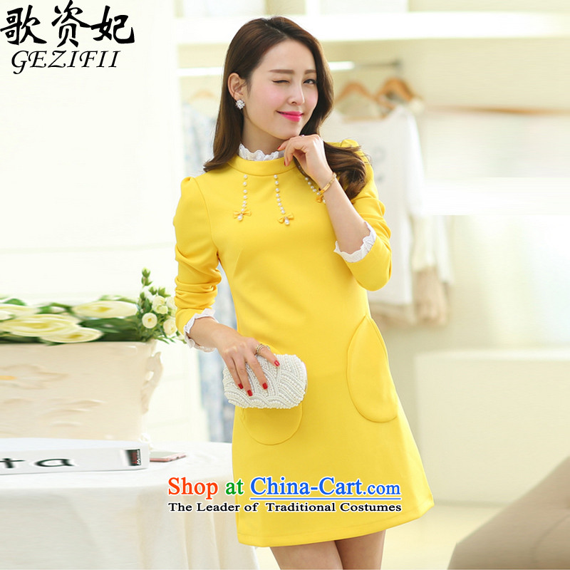 Song for 2015 autumn and winter Princess new to increase women's code thick mm long-sleeved pullover, forming the Korean skirt video in thin long thick sister dresses winter yellow plus lint-free thick XXXXL