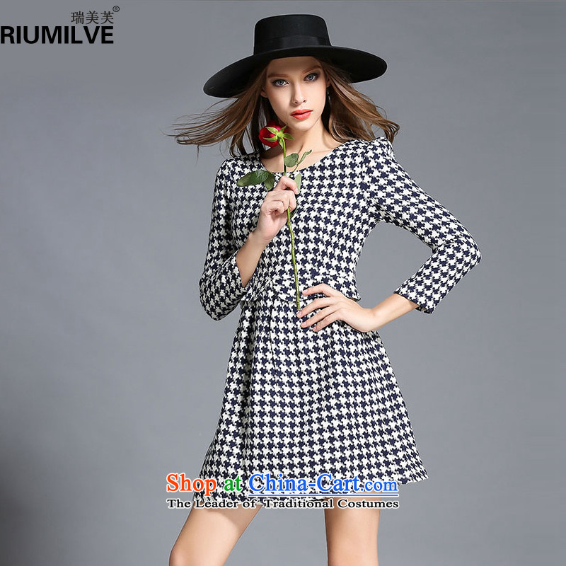 Rui Mei to爈arge 2015 Fall_Winter Collections for women to new xl chidori grid Foutune of video thin Sau San long-sleeved dresses R2171�L black