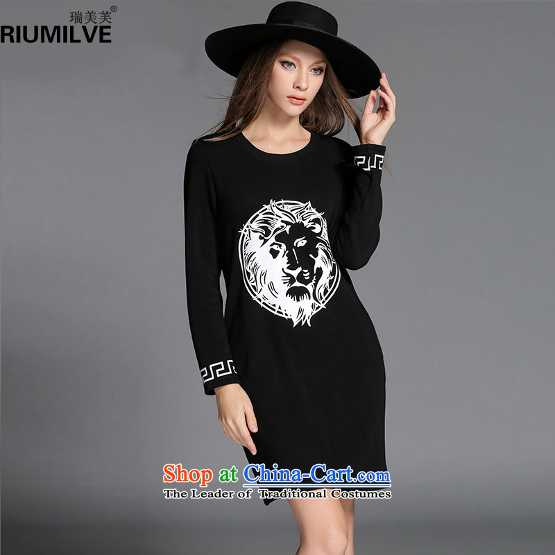 Rui Mei to爈arge 2015 Fall_Winter Collections for women to new xl relaxd stylish stamp forming the thick wool dresses R2153�L black