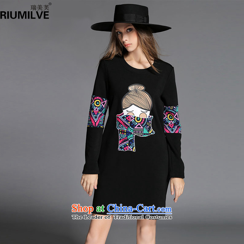 Rui Mei to爈arge 2015 Fall_Winter Collections for women to new xl stylish stamp forming the long-sleeved thick wool dresses R2151�L black
