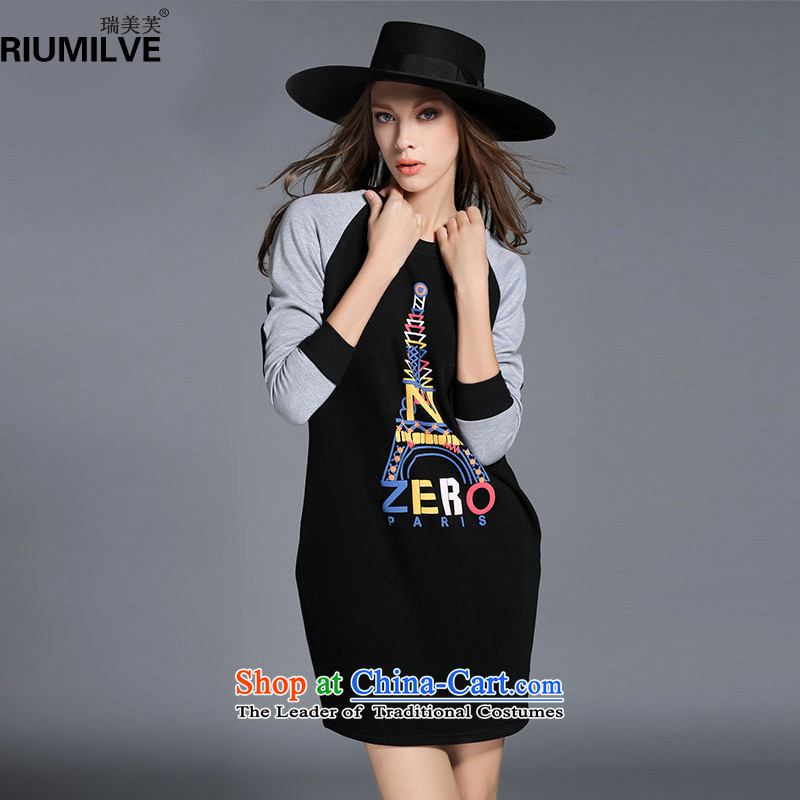 Rui Mei to large 2015 Fall/Winter Collections for women to new xl stylish stamp color stitching plus knocked down Thick coated dresses R2130 3XL black