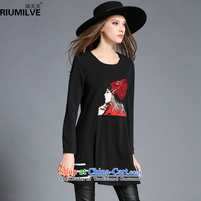 Rui Mei to爈arge 2015 Fall_Winter Collections for women to new stylish light slice xl loose stamp graphics thin A Skirt R2042�L black