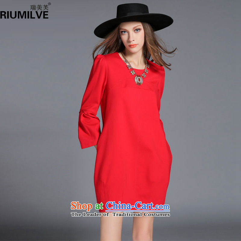 Rui Mei to爈arge 2015 Fall_Winter Collections for women to new xl stylish and elegant dresses R2010�L red