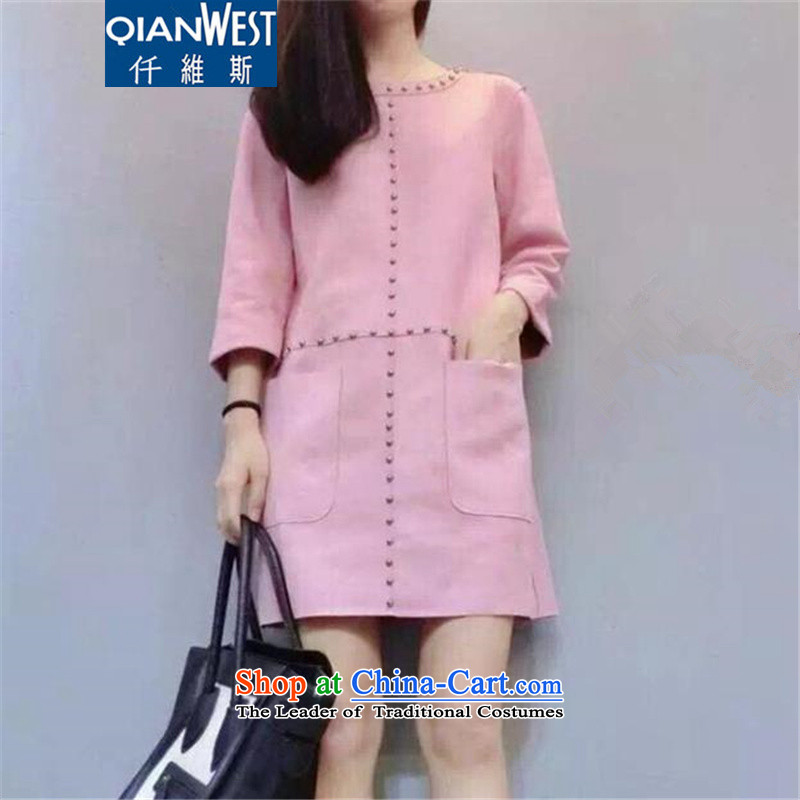 Motome square thick sister larger women's dresses autumn and winter�15 autumn and winter new large Korean version of suede inside the graphics, forming the thin dresses 5773 pink�L爎ecommended weight 140-160 characters catty