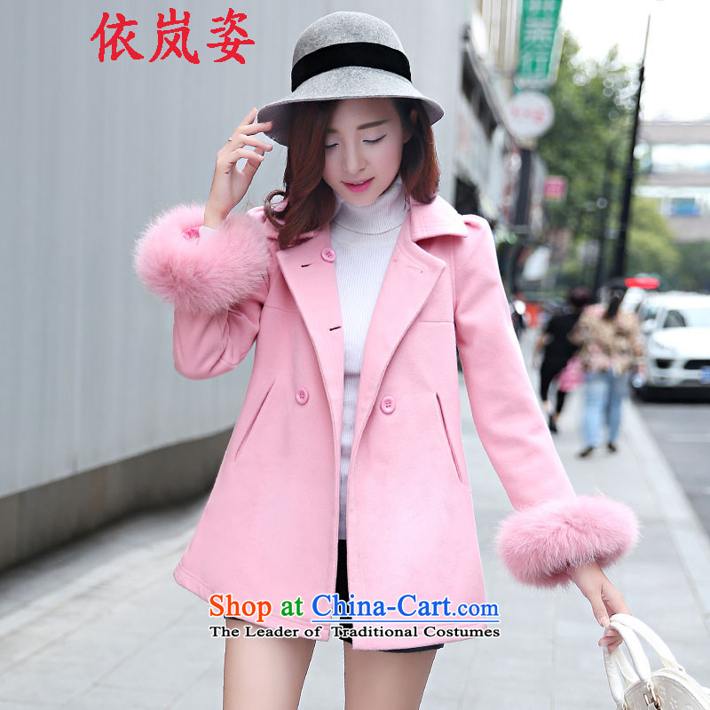 In accordance with the proposals for winter 2015 Gigi Lai new medium to long term, a typeface thick hair? female Korean jacket coat women? gross pink燣