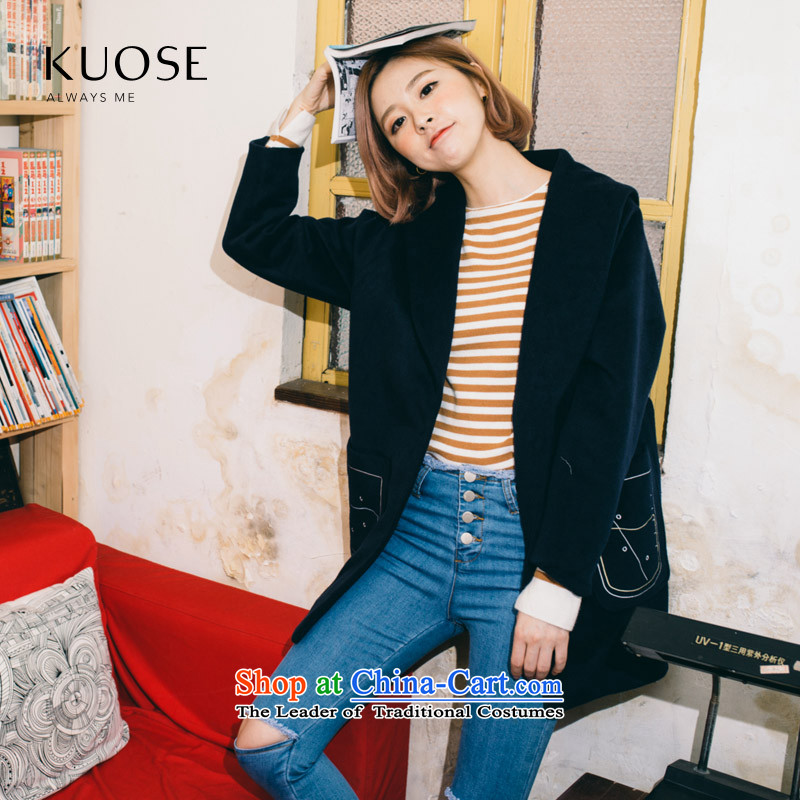 Wide Color Gamut 2015 autumn and winter new Korean navy's women's long pocket embroidery_? coats blue jacket? gross?S