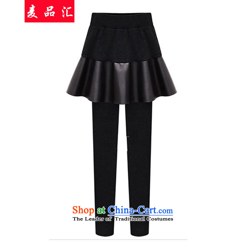 Mr Hui 2015 autumn and winter, new to xl leave two solid skort trousers thick mm stitching, through Sau San video thin solid black 5XL 390 pants