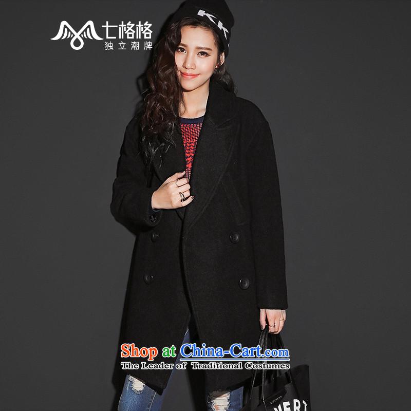 7 Huan a wool coat women�15 winter new long-sleeved lapel long roomy, double-coats black燬?