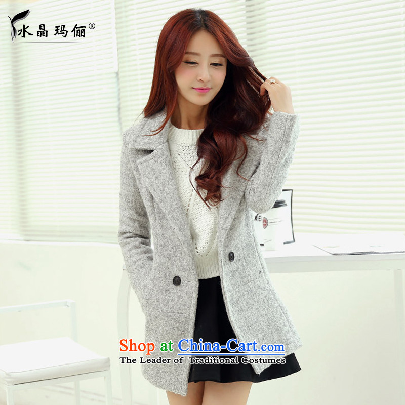 The Korean version of Crystal Princess 158 gross? female Korean version of the jacket long autumn and winter New Sau San Mao? coats Light Gray燣