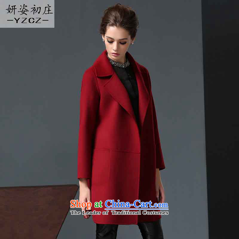Charlene Choi Gigi Lai early high-end 2-sided wool Zhuang coats women 2015? New fall inside the girl in gross? jacket long cashmere a wool coat wine red L