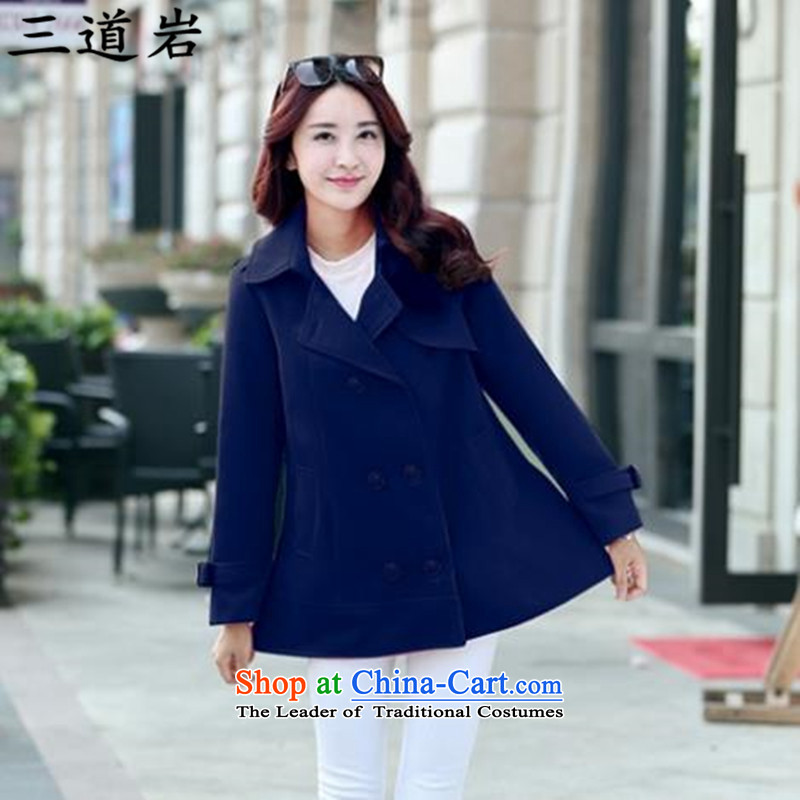 3 Doam autumn and winter new thick MM plus hypertrophy code solid color, double-medium to long term, A gross?? _220 coats jacket catty ? 8641 Blue�L