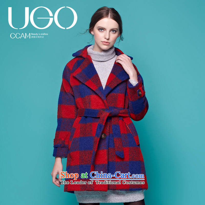 Ugoccam2015 autumn and winter new Korean Classic red blue patterned female red cloak gross?燣
