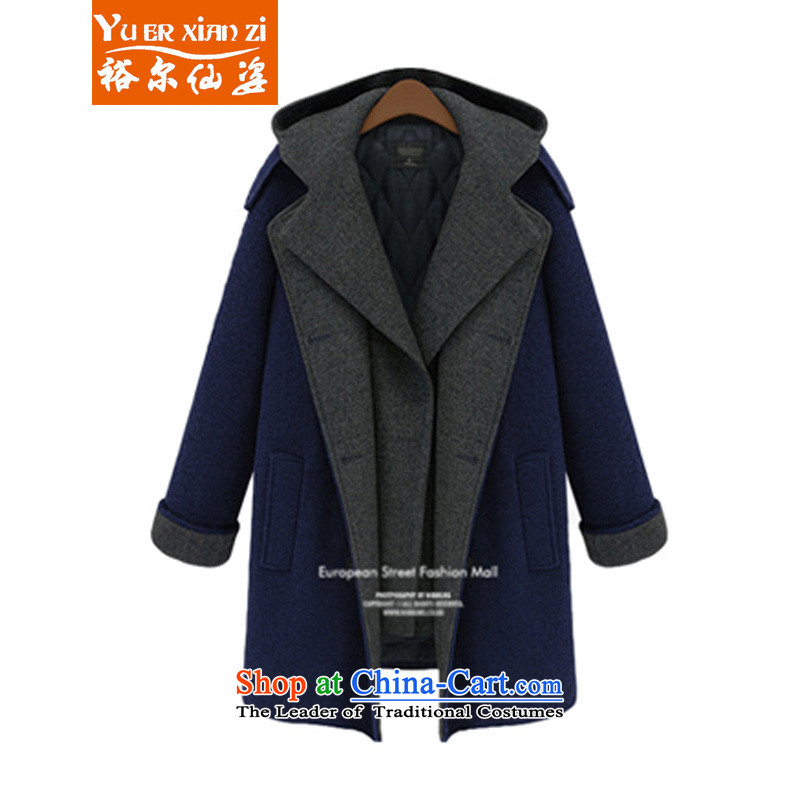 Yu-Sin-thick sister to increase women's code 2015 autumn and winter new warm jacket female expertise so gross mm leave two sub-coats 8178 Tibet Connie blue?5XL?175-200 recommends that you Jin
