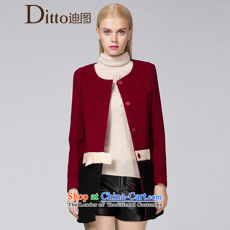Ditto Dutout 2015 autumn and winter new Korean bow tie in woolen coat Ms. long han bum D13DR583 gross? coats wine redL