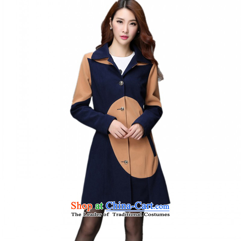 C.o.d. Package Mail to increase the number of autumn and winter new Korean version of the same power of Yang long coats that suit the wool a jacket female single row deep blue jacket�L detained燼pproximately 165-180 catty