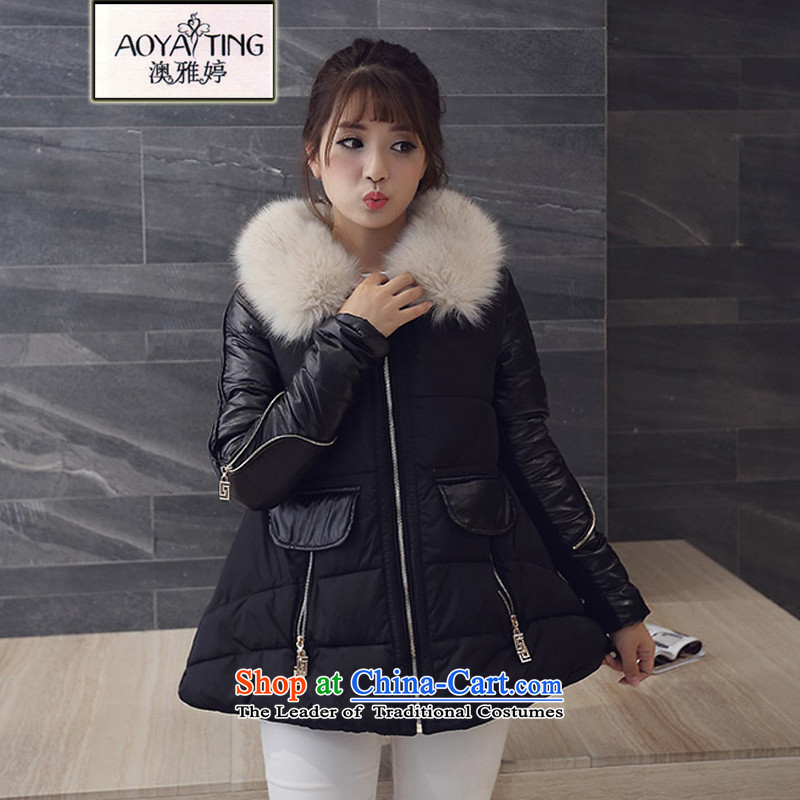 O Ya-ting tai code women 2015 autumn and winter new mm thick and long, thin graphics cotton coat cap down jacket coat for gross female 6161 Black XL recommends that you a range 115-150 catty