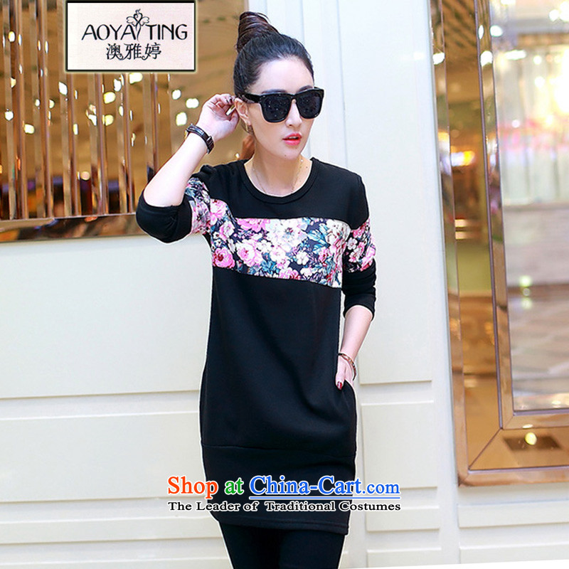 O Ya-ting to increase women's code of autumn and winter mm thick stitching Korean thick long-sleeved T-shirt small female in the Netherlands long graphics Sau San Plus thin black 024 Netherlands forming the lint-free�L recommends that you 160-180 catty