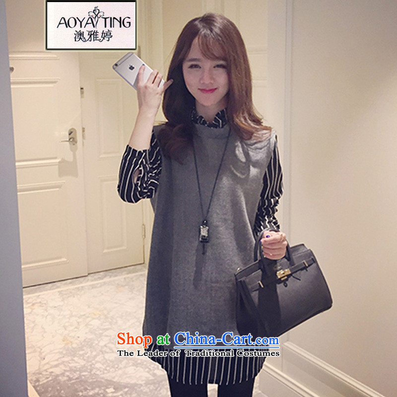 O Ya-ting to increase women's code 2015 autumn and winter new mm thick and long, thin graphics leave two kits? t-shirt, forming the gross shirt female 8231 Gray�L 125-145 recommends that you Jin