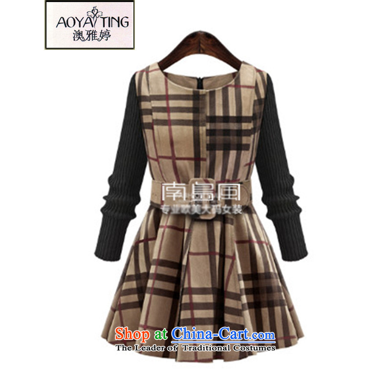 O Ya-ting to increase women's code 2015 new expertise mm thin grid graphics suede autumn and winter skirt wear skirts 3832 pictures female color with waistband 5XL 175-200 recommends that you Jin