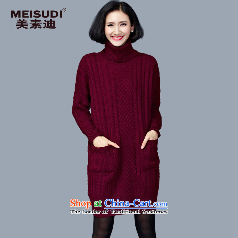 2015 Autumn and Winter Korea MEISUDI version of large numbers of ladies relaxd longer in the video thin forming the knitwear dresses Sleek and versatile high Neck Sweater wine red are code (loose)