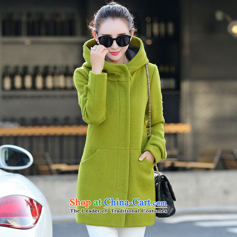 Sin has wool coat girl in long?_? a coat of gross new boxed Korean autumn Fall_Winter Collections of lime green聽 M
