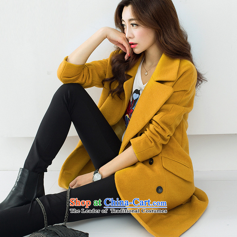 Sin has wool coat 2015 autumn and winter will replace the new Korean women in a relaxd thick long hair? female turmeric yellow� S Jacket