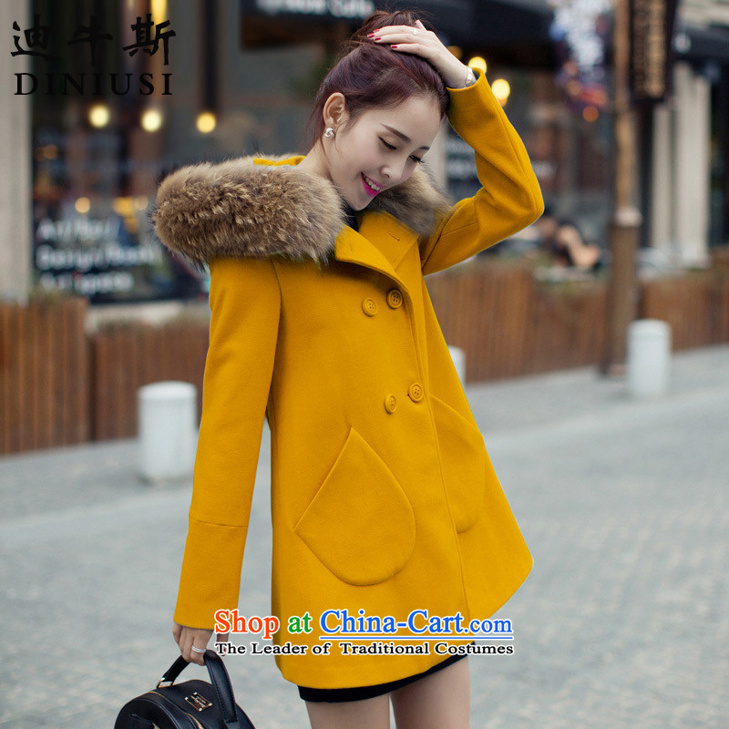 The achievement of the 2015 autumn and winter new Korean version in the van of the goddess of double-coats women's gross turmeric yellow jacket? S